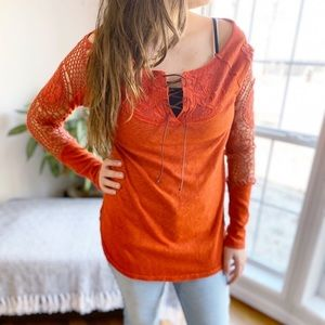 Free People Lave Up Crochet Sleeve Wide Neck Top